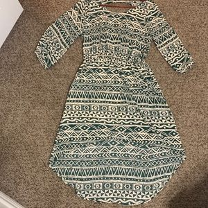 Anthropologie Everly Green Print Hi Low Dress